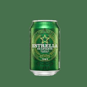 Lata de cerveza Estrella de Levante de 33 cl