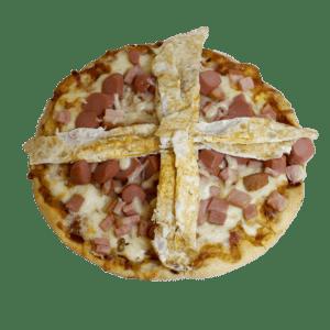 Pizza de salchichas, bacon y huevo VIENA - TIA TOTA - Pizzas en Alhama de Murcia